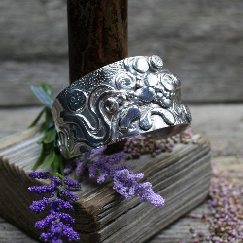 Handcrafted Bear Labyrinth Silver Cuff