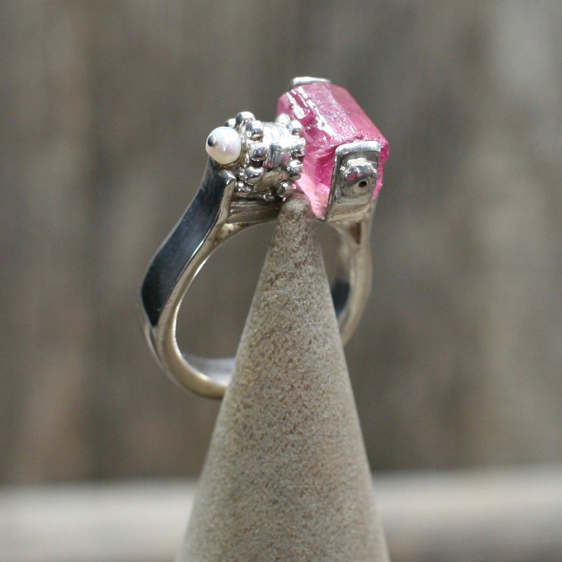 Handcrafted Bar Ring with Pink Tourmaline Crystal