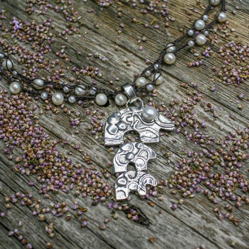 Sterling Silver Bear Pendant on Pearl Crochet Wrap Necklace