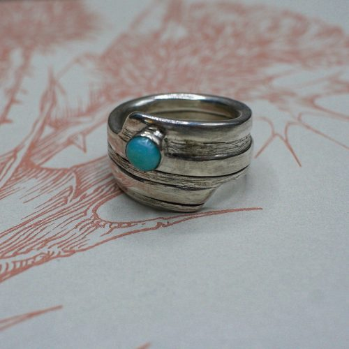 Handcrafted Spiral Spring Ring with Larimar