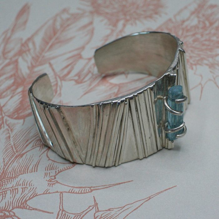 Handcrafted Sterling Silver Cuff with Aquamarine Crystal
