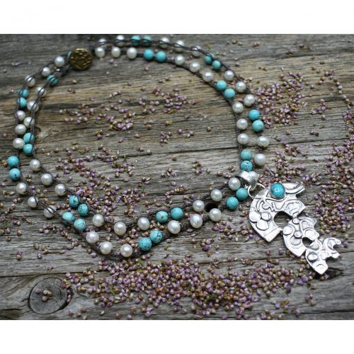 Turquoise Crochet Jewelry with Sterling Silver Bear Pendant