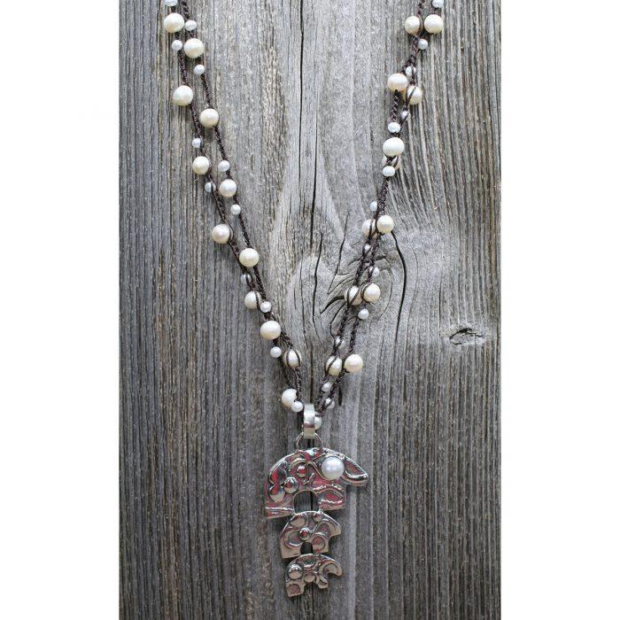 Sterling Silver Bear Pendant on Pearl Crochet Wrap Necklace