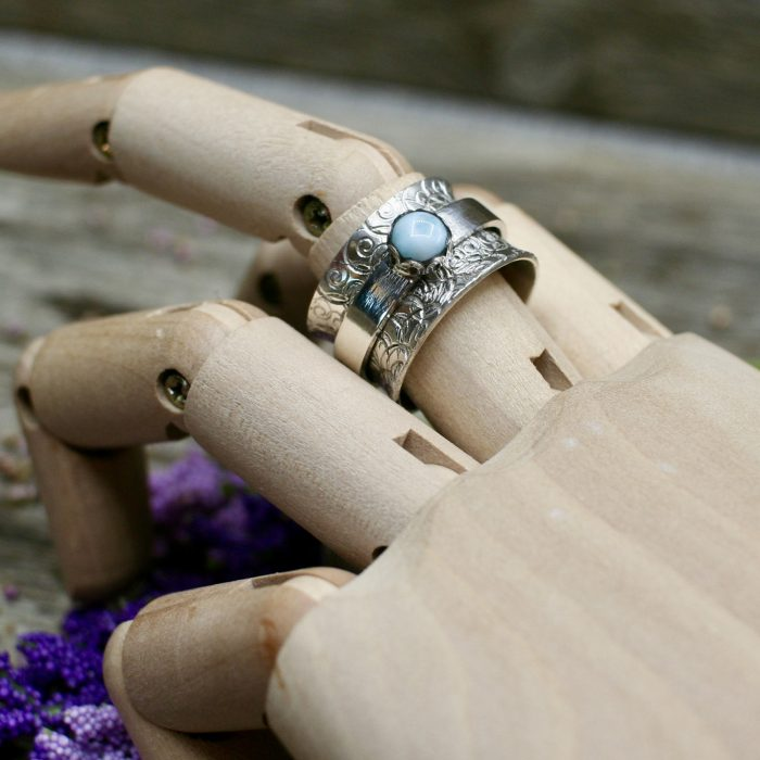 Meditation Ring with Larimar Stone