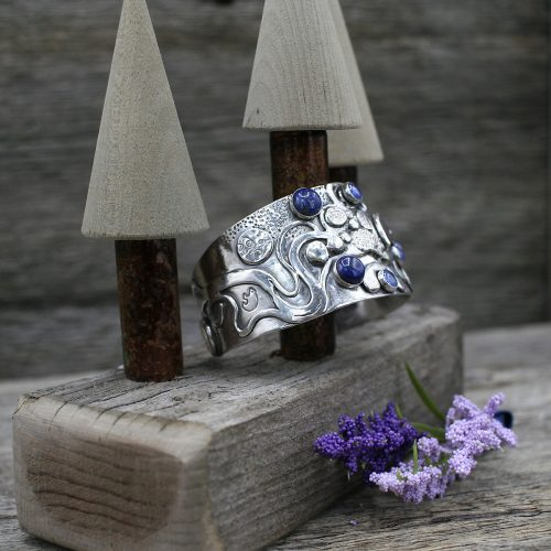 Sterling Silver Blue Bear Labyrinth Cuff