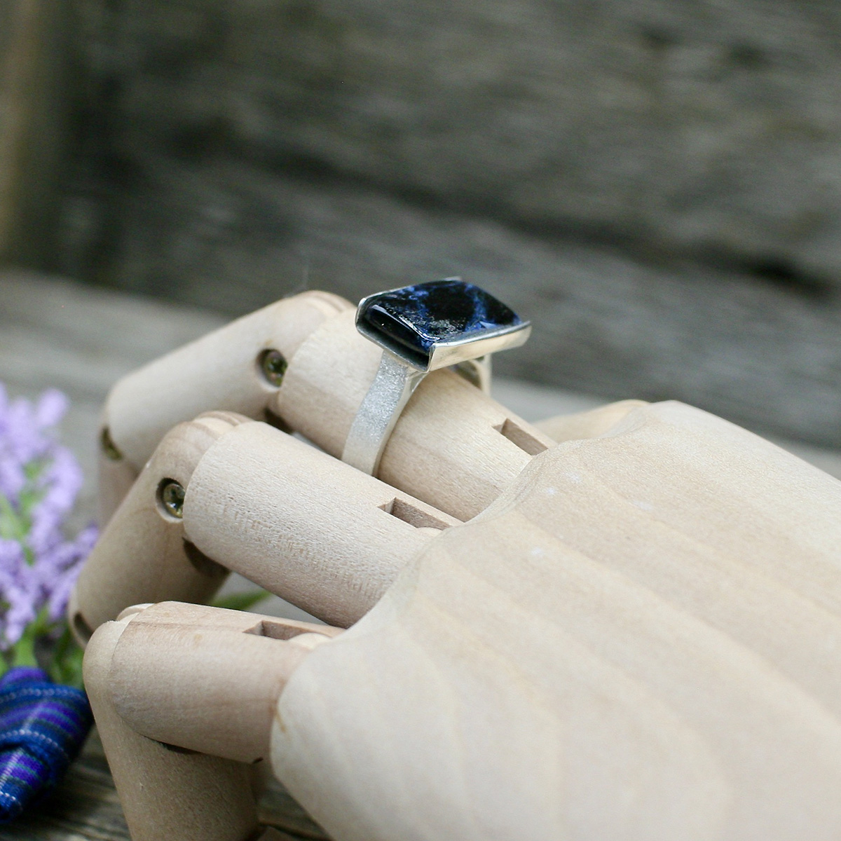 Blue Tempest Stone Ring on hand