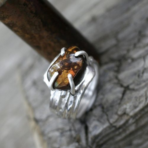 Fire Agate Spiral Spring Ring
