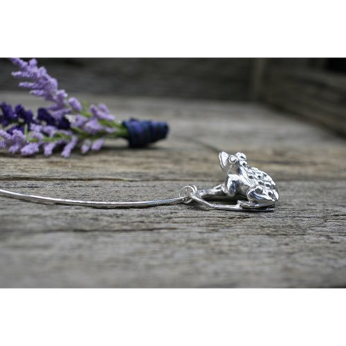 Sterling Silver Frogs and Hearts Pendant Necklace