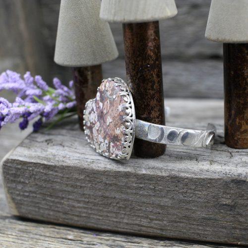 Handcrafted Jasper Heart Cuff Bracelet