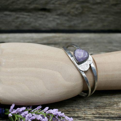 Purple Amethyst Heart Cuff Bracelet
