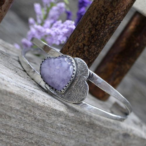 Handcrafted Sterling Silver and Purple Amethyst Heart Cuff Bracelet