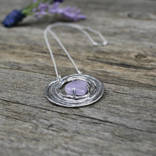 Purple Amethyst Heart Pendant Necklace