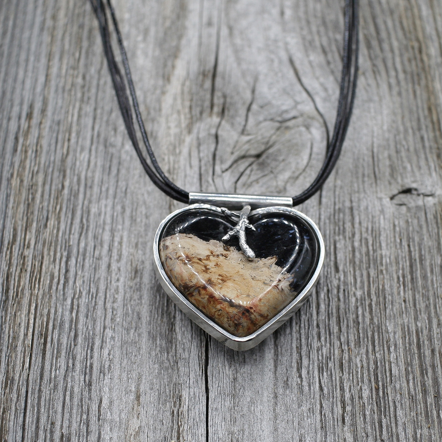 Handcrafted Stone Heart Pendant on Black Leather Cord Necklace