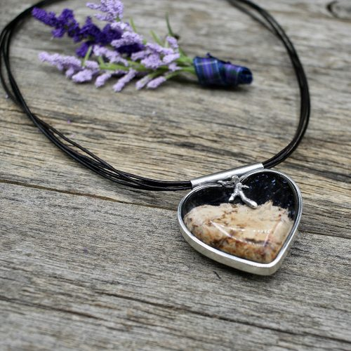 Stone Heart Pendant on Black Leather Cord Necklace