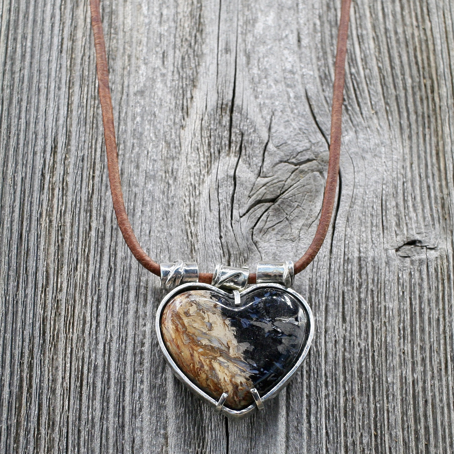 Handcrafted Stone Heart Pendant on Tan Leather Cord Necklace