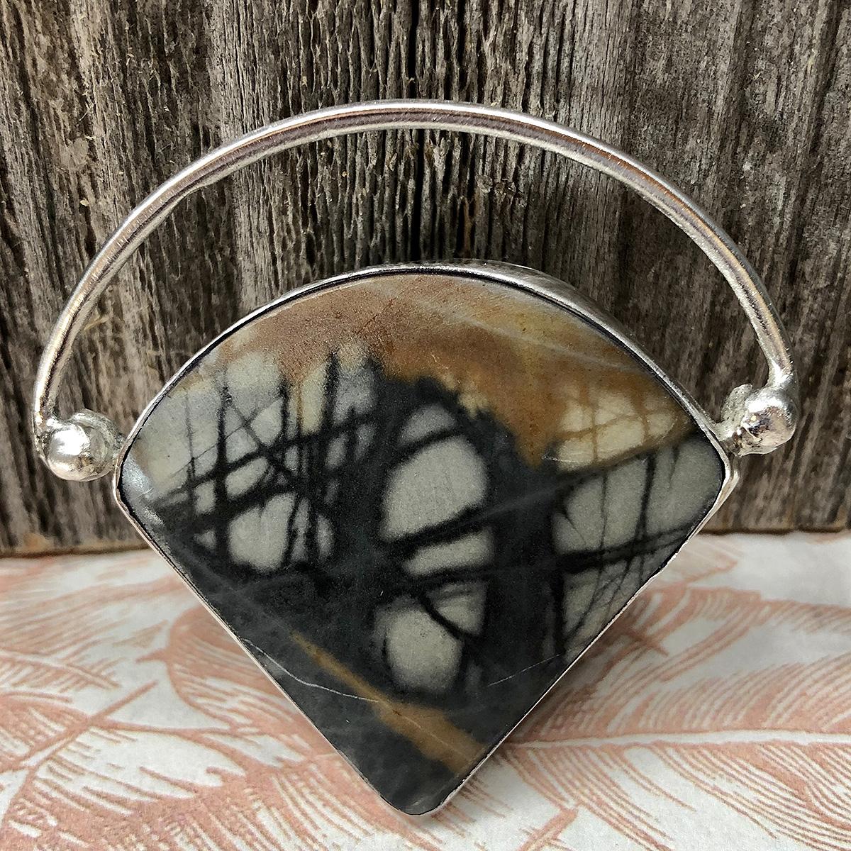 Abstract Picasso Jasper Stone Pendant