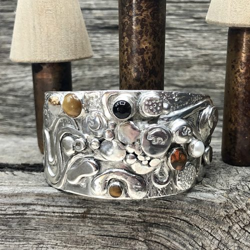 Sterling Silver Brown Bear Labyrinth Cuff