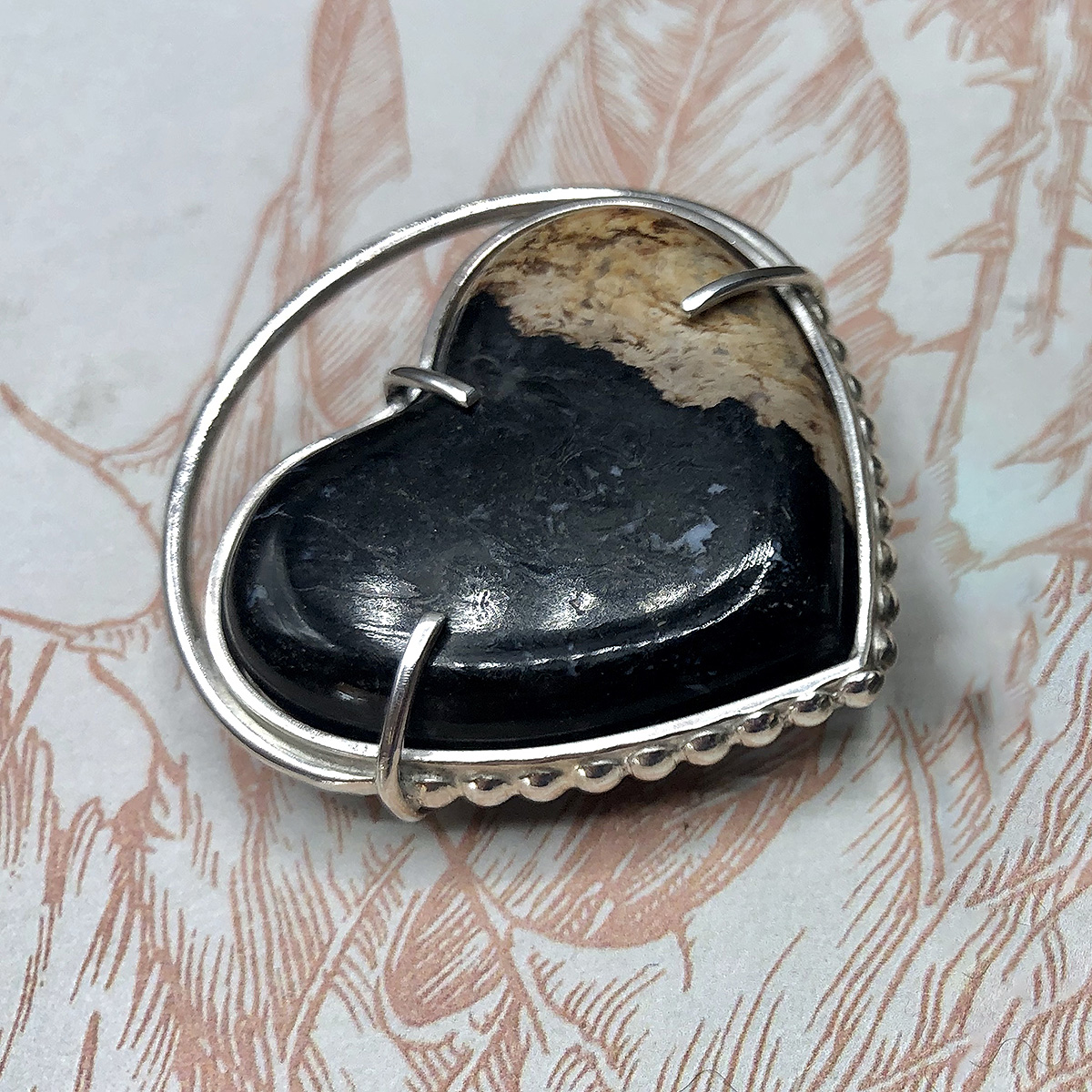 Dotted Fossilized Palm Root Heart Pendant