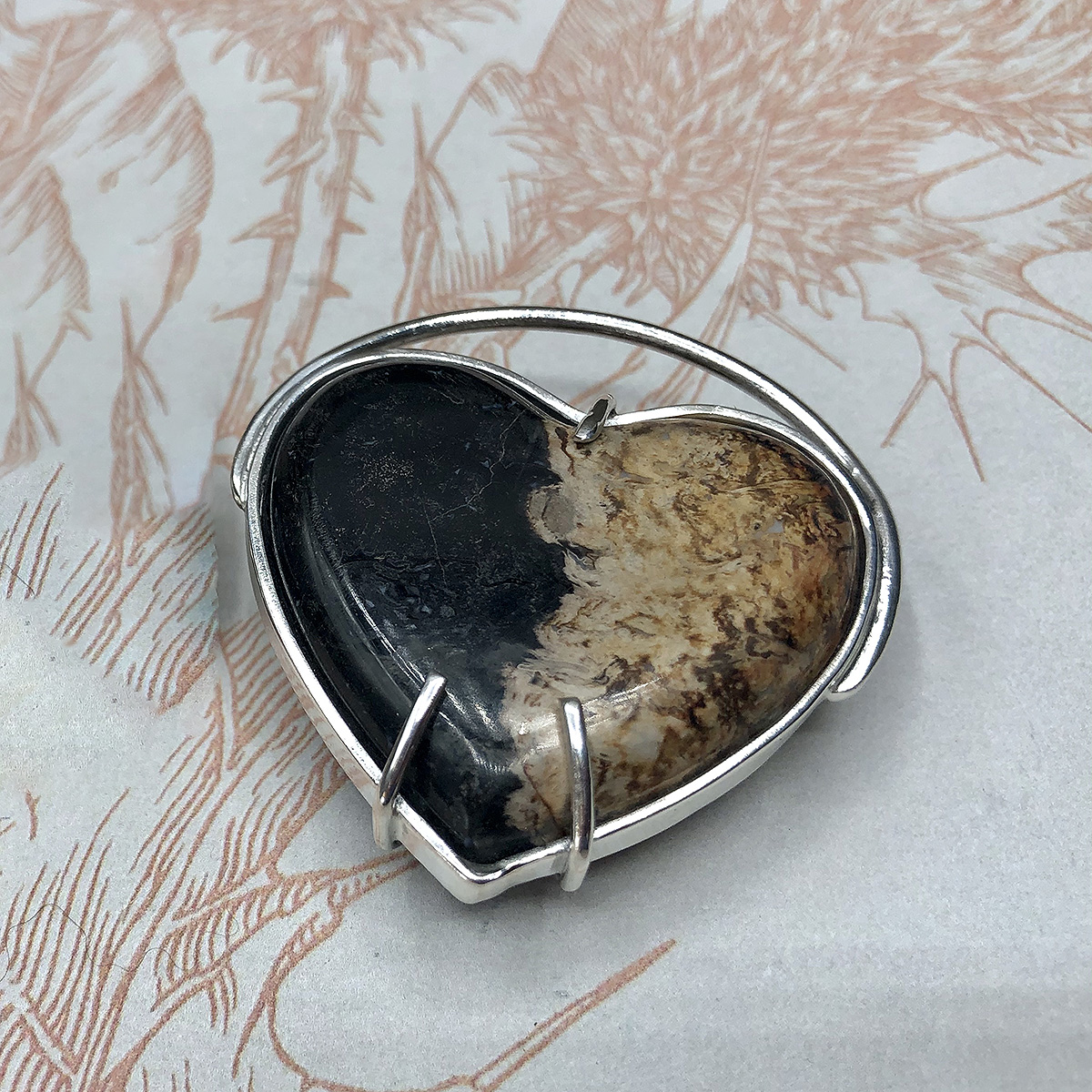 Fossilized Palm Root Heart Pendant