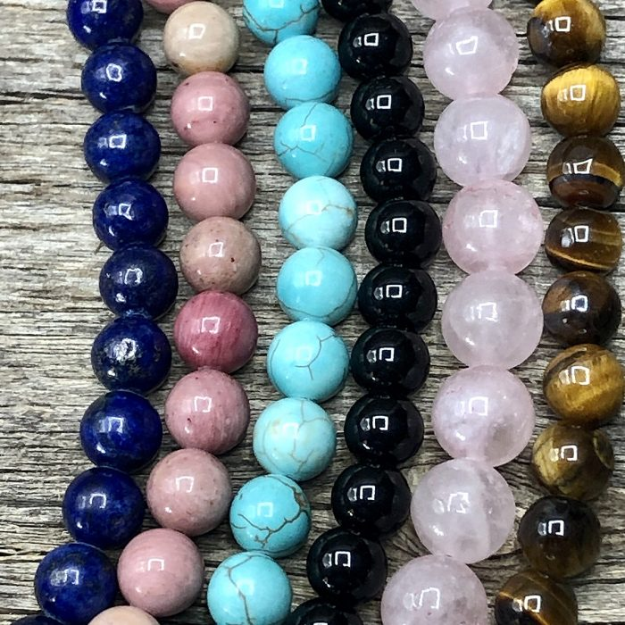 Close-Up Interchangeable Gemstone Beads Necklace