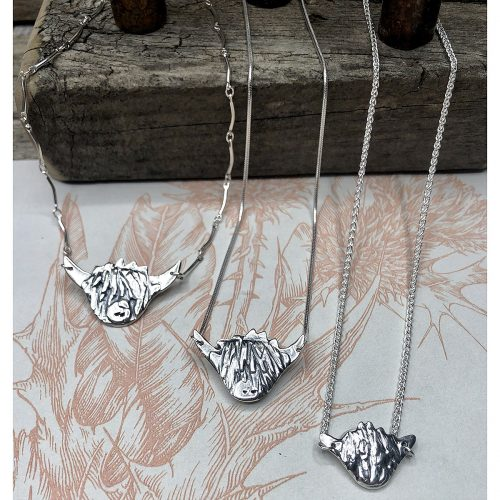 Handcrafted Sterling Silver Highland Cow Necklaces