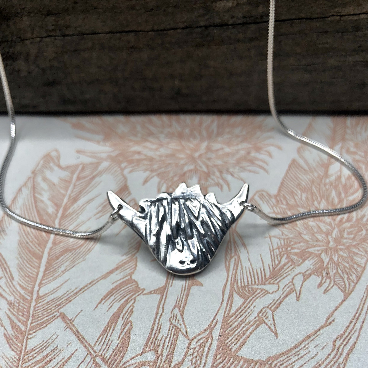 Handcrafted Sterling Silver Highland Cow Necklace