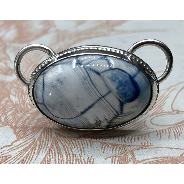 Interchangeable Natural Cornflower Blue & White Agate Stone Pendant