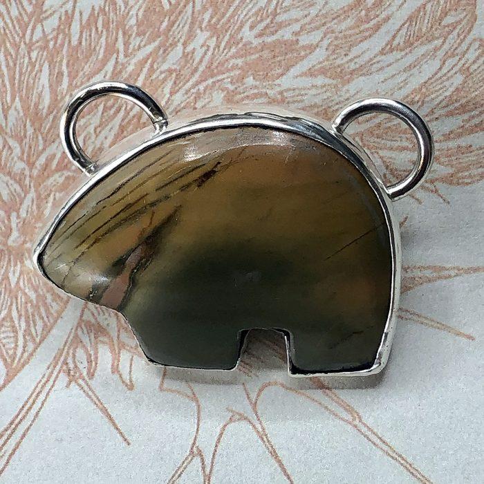 Picasso Jasper Zuni Bear Pendant