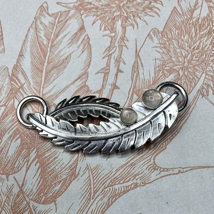 Silver Feathers Pendant with Rose Quartz Stone