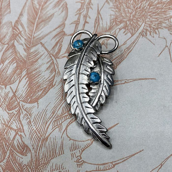 Silver Feathers Pendant with Turquoise