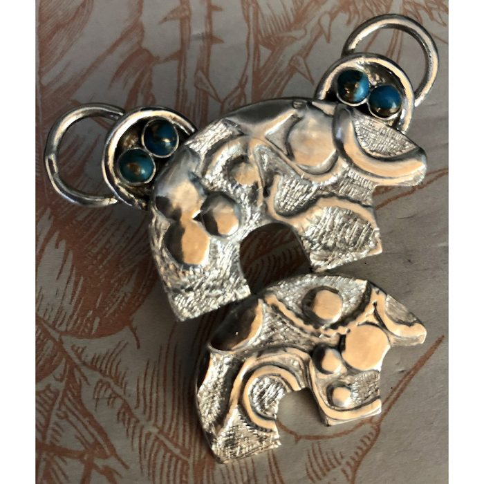 Handcrafted Two Whimsy Bears Pendant with Cabochons