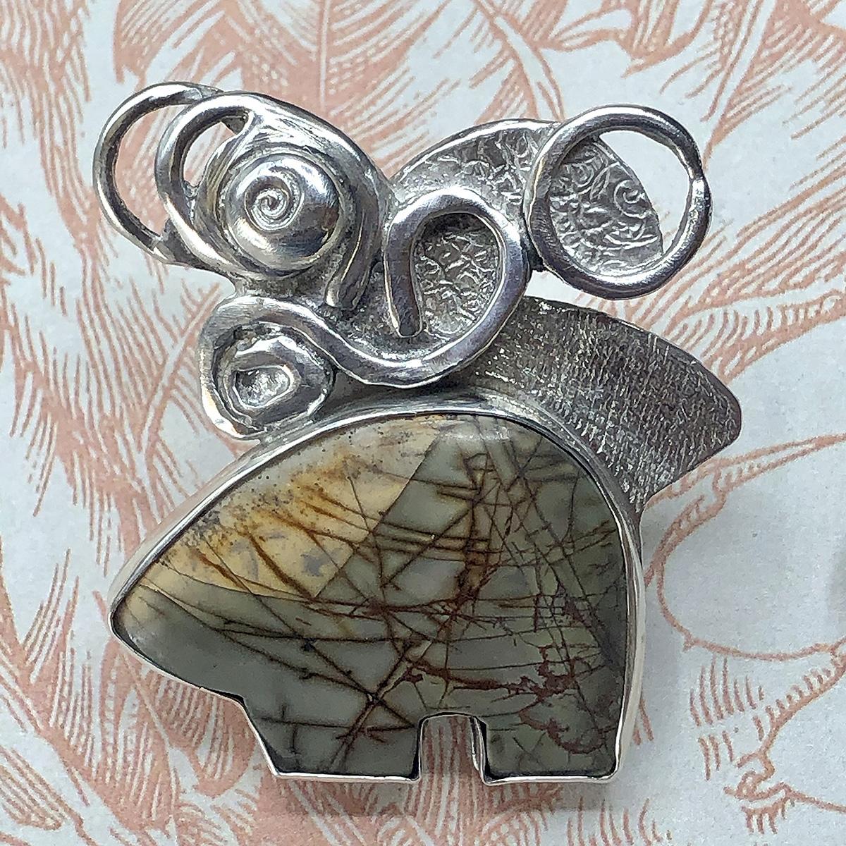Zuni Bear Pendant with Silver Swirls