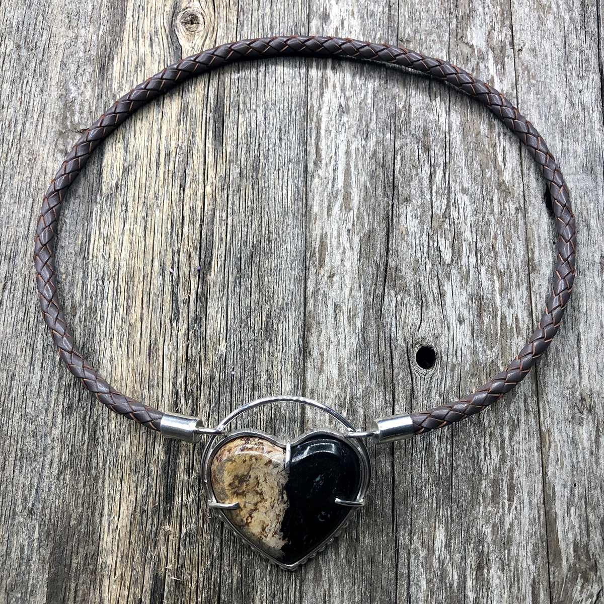 German Taupe Leather Braid Necklace with Fossilized Palm Root Heart with Dots Pendant