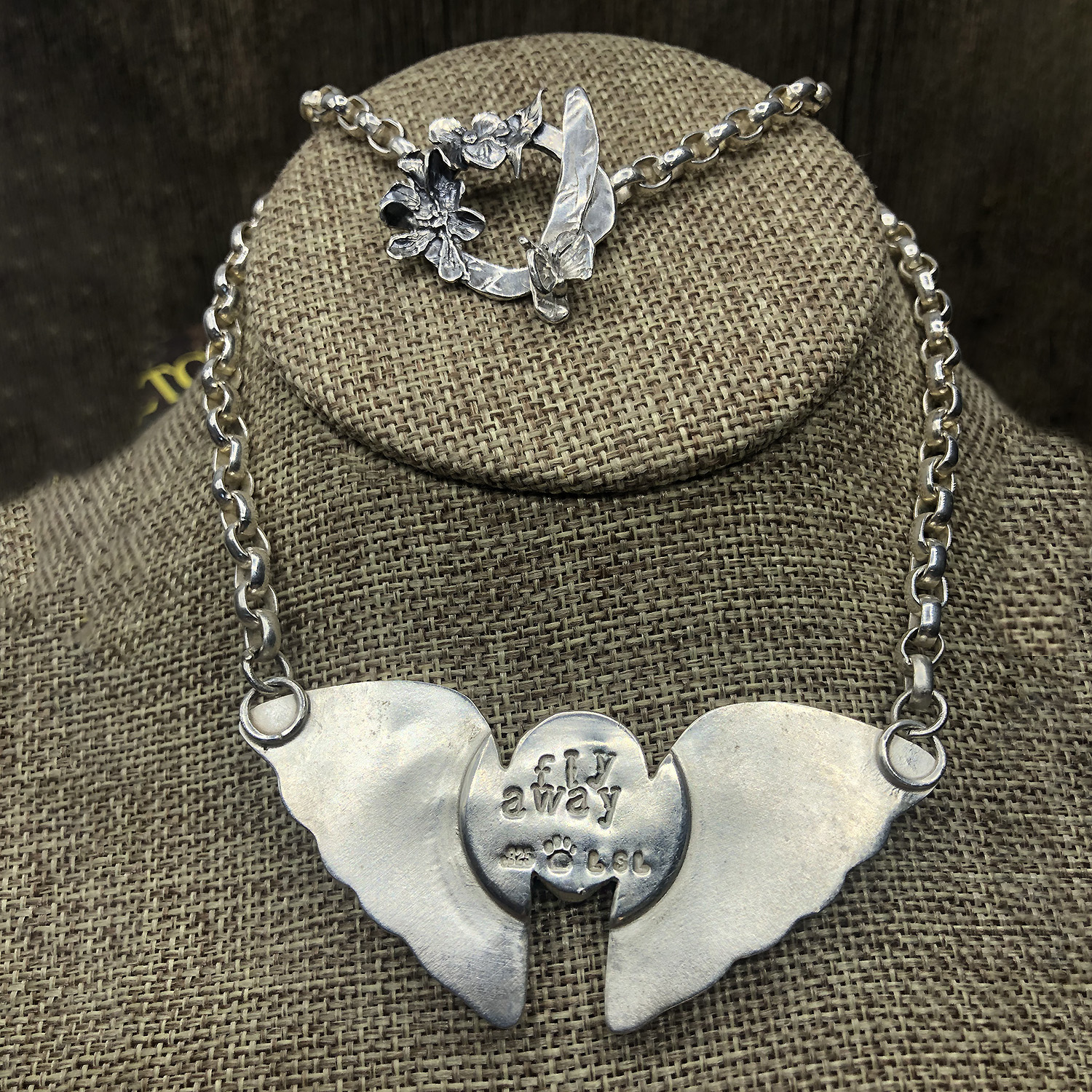Stone Butterfly Pendant Necklace with engraving