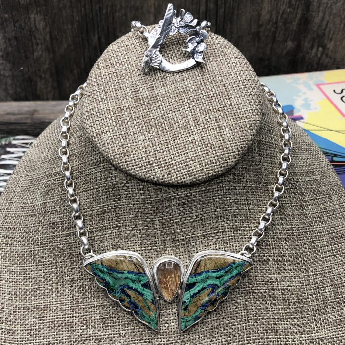 Turquoise and copper stone Butterfly Pendant Necklace