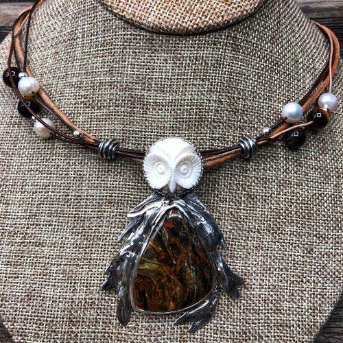 Golden Pietersite Stone Owl Necklace